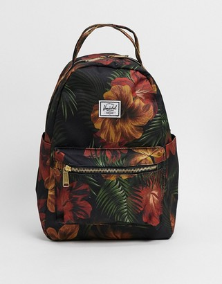 Herschel Nova small backpack in black and tropical floral