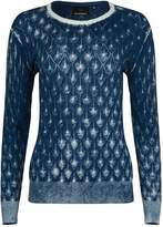 NY CHARISMA - Blue Cotton Hand Print Diamond Pattern Pullover