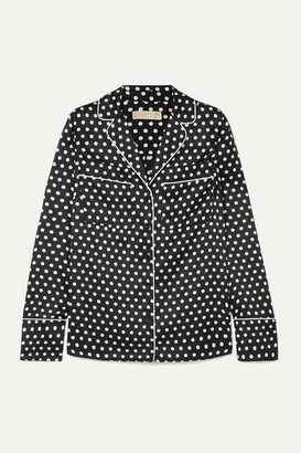 MICHAEL Michael Kors Polka-dot Hammered-satin Shirt - Black