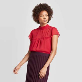A New Day Women's Flutter Short Sleeve Turtleneck Blouse Red