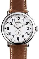 Shinola 47mm Runwell Men's Watch, White/Brown