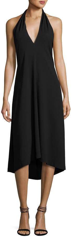Theory Araci Rosina Crepe V-Neck Halter Midi Dress, Black