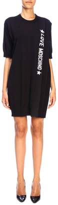 Love Moschino Dress Crew-neck Dress With Pleating And Logo