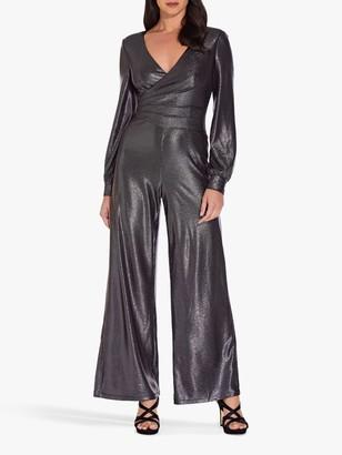 Adrianna Papell Metallic Jersey Jumpsuit, Black/Gunmetal