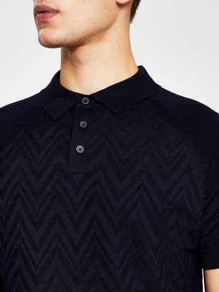 River Island Short Sleeve Knitted Polo - Navy