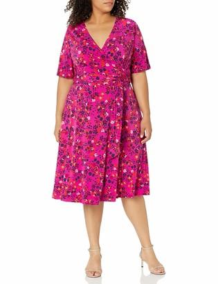 Donna Morgan Women's Elbow Sleeve Faux Wrap Ditsy Floral Print Matte Jersey Dress