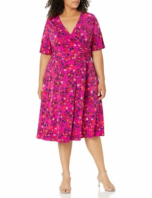 Donna Morgan Women's Plus Size Elbow Sleeve Faux Wrap Ditsy Floral Print Matte Jersey Dress