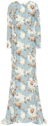 Oscar de la Renta Floral crepe gown