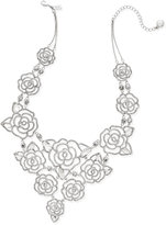 Kate Spade Silver-Tone Crystal Openwork Rose Statement Necklace
