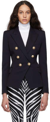 Balmain Navy Wool Double-Breasted Blazer