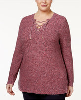 Charter Club Plus Size Marled Lace-Up Sweater, Only at Macy's