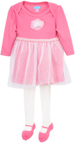 Bon Bebe Pink Glitter Tulle Long-Sleeve Dress & Mary Jane Tights