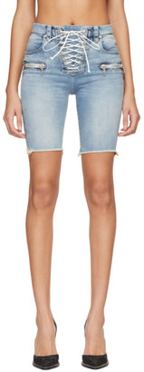 Unravel Blue Denim Lace-Up Cyclist Shorts