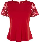 Karen Millen Lace-sleeve Top - Red