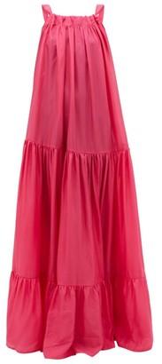 Kalita Asri Low-back Tiered-silk Maxi Dress - Pink