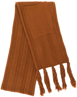 Danielapi Patch-Pocket Fringed Scarf