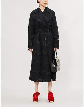 Simone Rocha Glitter-embellished mesh trench coat
