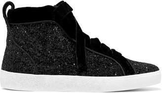 Alice + Olivia Camil Velvet-trimmed Glittered Woven High-top Sneakers