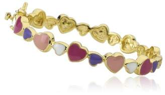"""Little Miss Twin Stars """"I LOVE My Jewels"""" 14k Gold-Plated Multicolored Cutout Hearts Bangle Bracelet"""