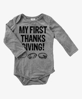 Urban Smalls Gray 'My First Thanksgiving' Long-Sleeve Bodysuit - Infant
