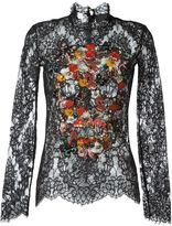 Philipp Plein embellished skull lace top - women - Cotton/Polyamide/Polyester/glass - S