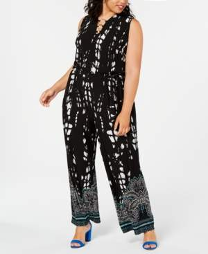 INC International Concepts Inc Plus Size Printed Wide-Leg Jumpsuit, Created for Macy's
