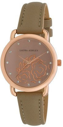 Laura Ashley Womens Rosegold Floral Mirror Dial Strap Watch