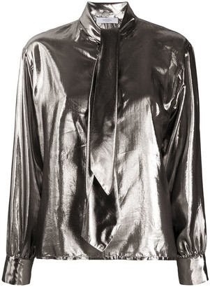 Roseanna Metallic Tied Neck Shirt
