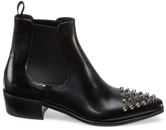 Prada Studded Polished Leather Chelsea Boots