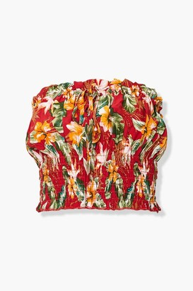 Forever 21 Tropical Floral Print Tube Top