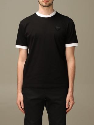 Prada Pique Cotton T-shirt With Triangular Logo