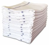 VibraWipe Kitchen Dish Towels (12 Pieces, 29in x 18in, White with Blue Stripes) - Commercial Grade 100% Cotton, Herringbone Weave, High Absorbent Dish Cloths