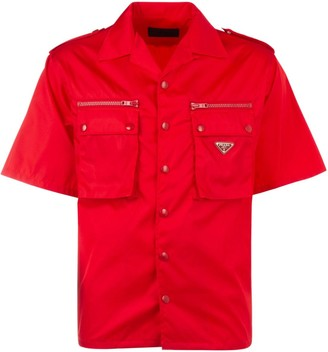 Prada Logo Plaque Short-Sleeve Shirt
