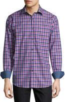 Bugatchi Plaid-Print Sport Shirt, Fuchsia