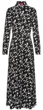 HUGO Maxi shirt dress in a star-houndstooth print