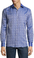 Etro Crosshatched Button-Down Sport Shirt, Navy