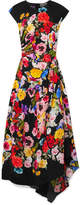 Preen by Thornton Bregazzi Gathered Floral-print Silk Crepe De Chine Midi Dress - Black