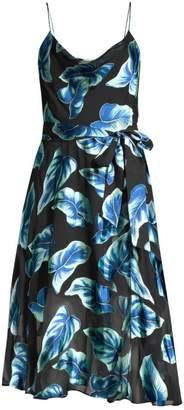 Alice + Olivia Heather Cowl-Neck Floral Midi Dress