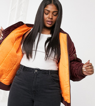 ASOS DESIGN Curve oversized bomber jacket with sleeve detail in oxblood