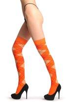 LissKiss Argyle Peach, & Dark - Over The Knee Socks