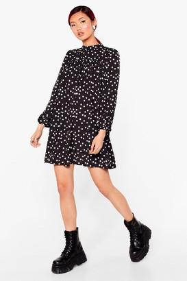 Nasty Gal Womens Swing By Polka Dot Mini Dress - Black - 6, Black