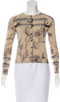 Blumarine Wool & Silk-Blend Printed Cardigan
