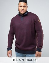 Duke PLUS Sweater With Button Neck In Burgundy