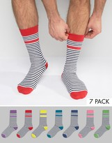 Asos Socks With Stripe and Contrast Heel & Toe 7 Pack
