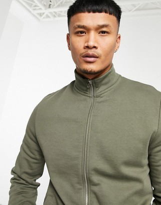 ASOS DESIGN jersey track jacket in khaki with funnel neck and chunky zip