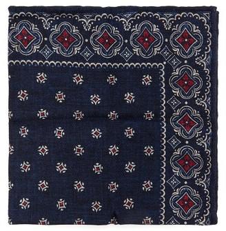 Brunello Cucinelli Tile-print Silk-faille Pocket Square - Navy