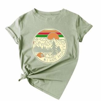 CUTUDE T Shirts Women Printing Shirt Summer Short Sleeve Teen Girls Tees Round Neck Casual Tunic Tops Blouse (Wine 3XL)