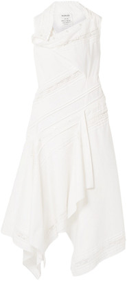 Monse Draped Lace-trimmed Cotton-blend Poplin Midi Dress