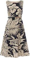 Max Mara DETROIT sleeveless palm print fit and flare dress