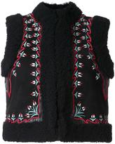 Vilshenko embroidered floral panel gilet - women - Sheep Skin/Shearling - 8